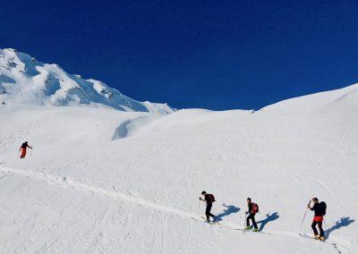 monter en skis de randonnée à l'aiguille de l'épaisseur