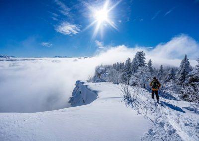 Skis de randonnée sur les arêtes du vercors